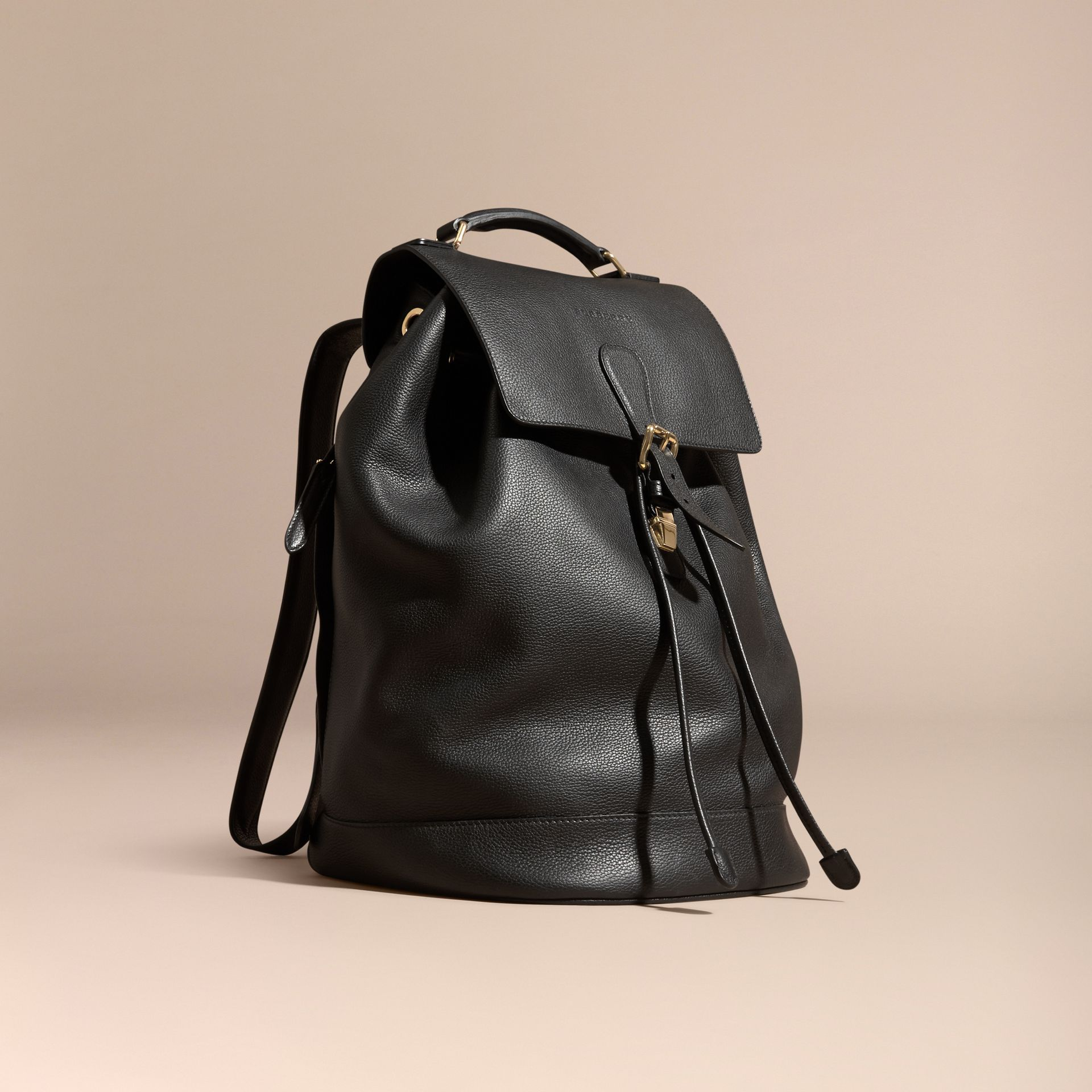 Black Grainy Leather Backpack Black - gallery image 1