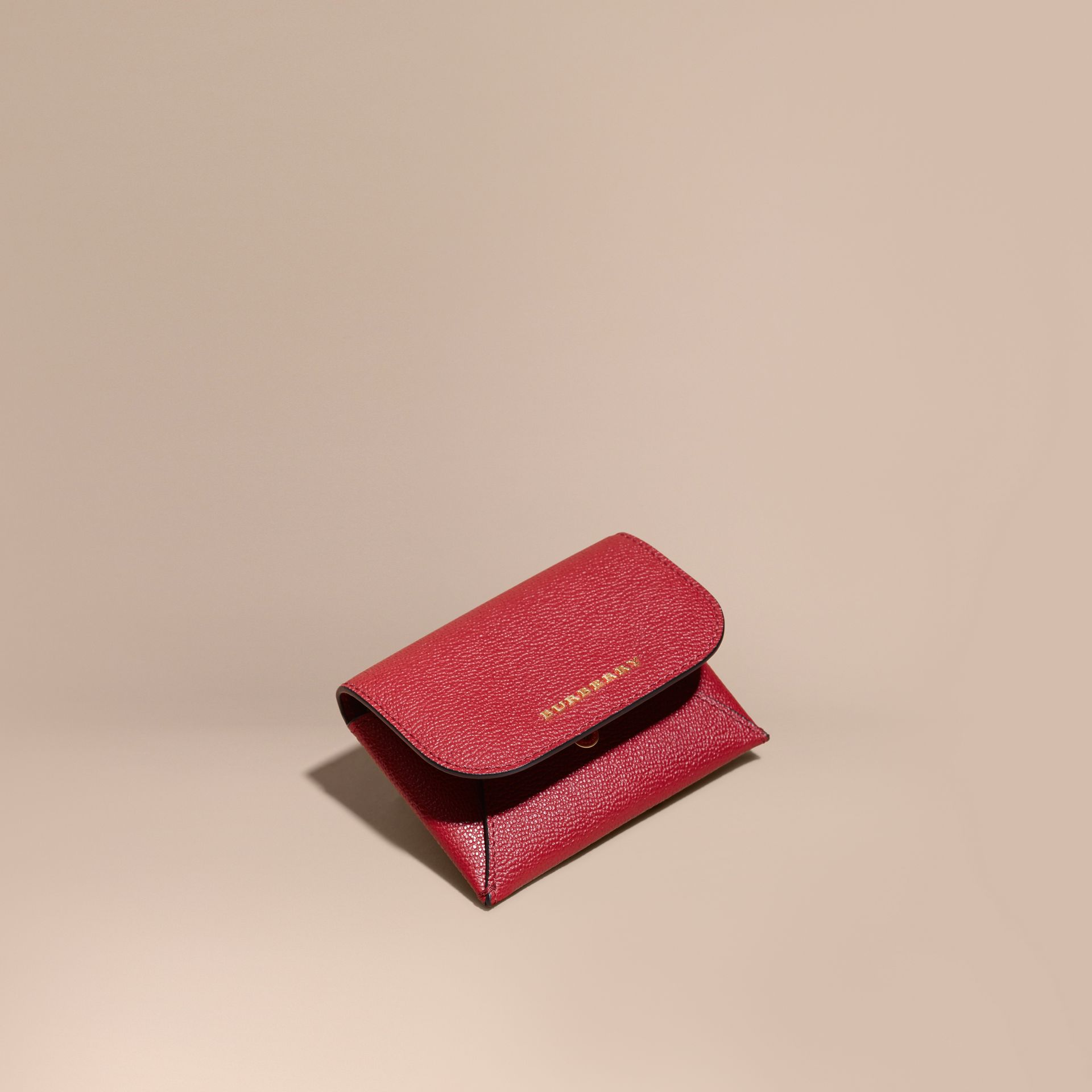 Leather Coin Case with Removable Card Compartment in Parade Red - Women | Burberry Canada - gallery image 1