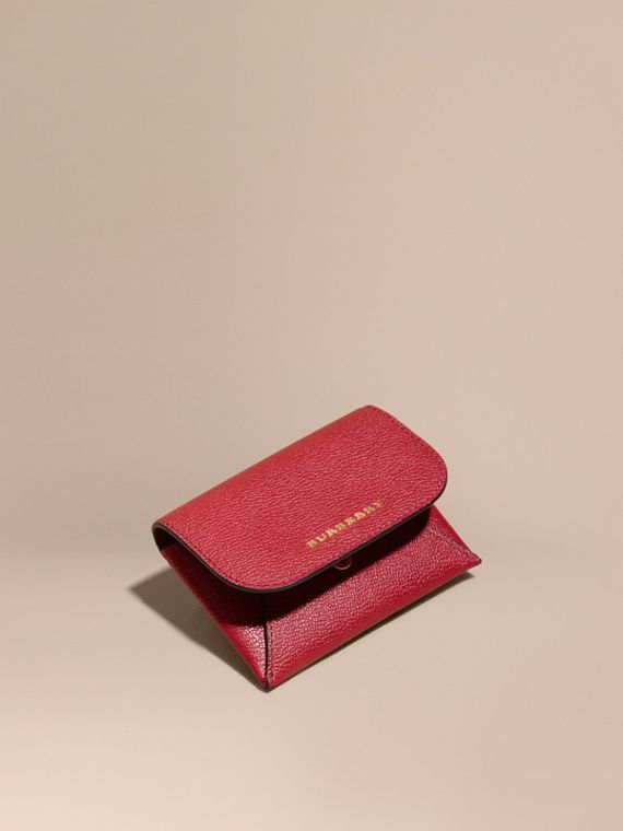 Leather Coin Case with Removable Card Compartment in Parade Red
