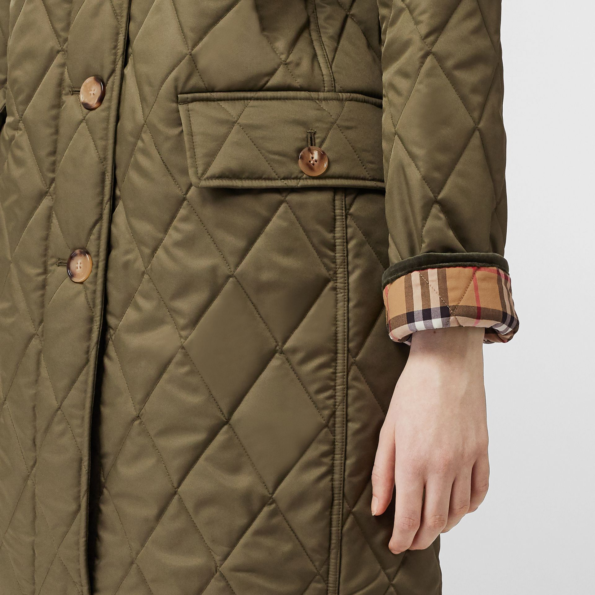 Detachable Hood Monogram Motif Quilted Coat in Olive Green - Women | Burberry - gallery image 4
