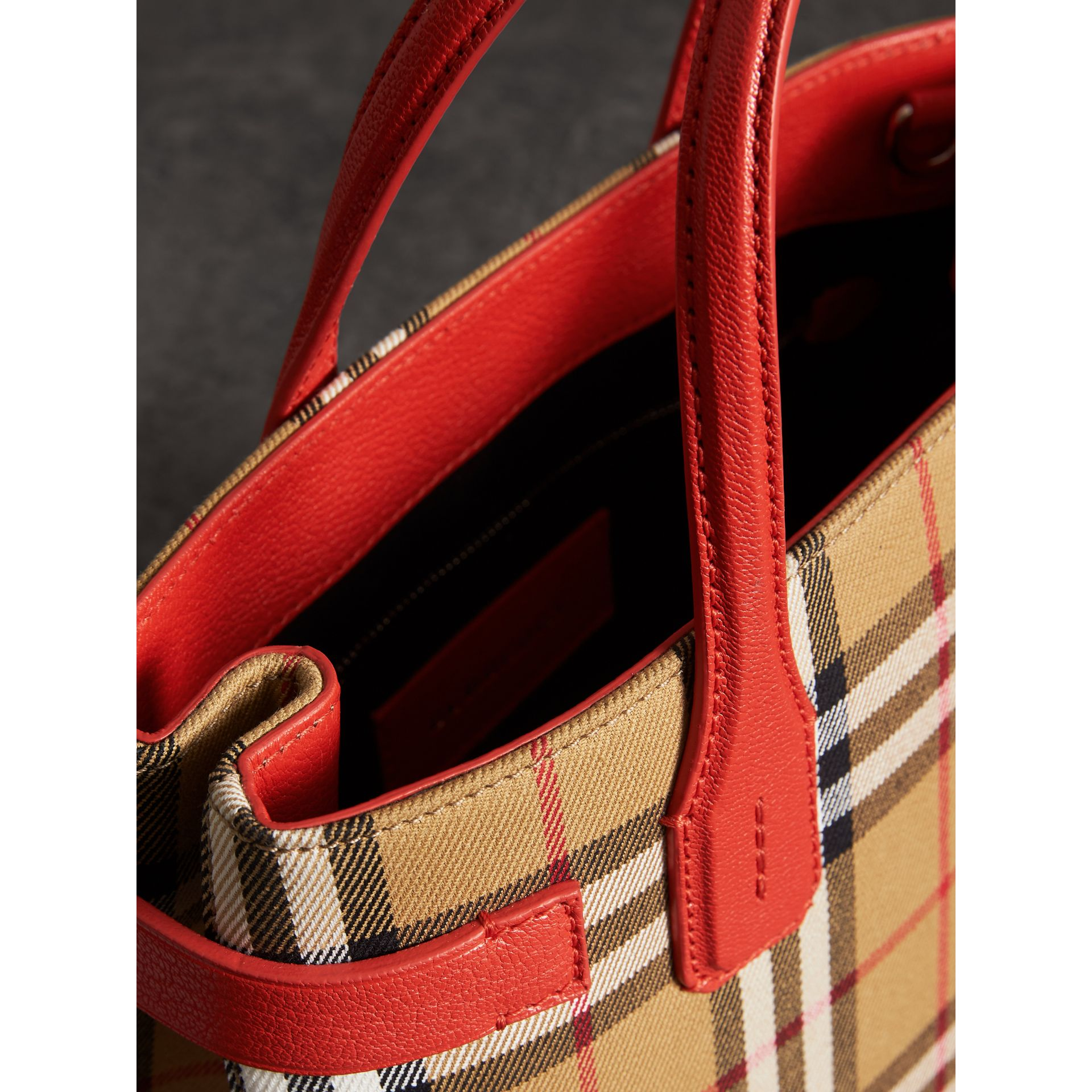 The Small Banner in Vintage Check and Leather in Bright Red - Women | Burberry United Kingdom - gallery image 5