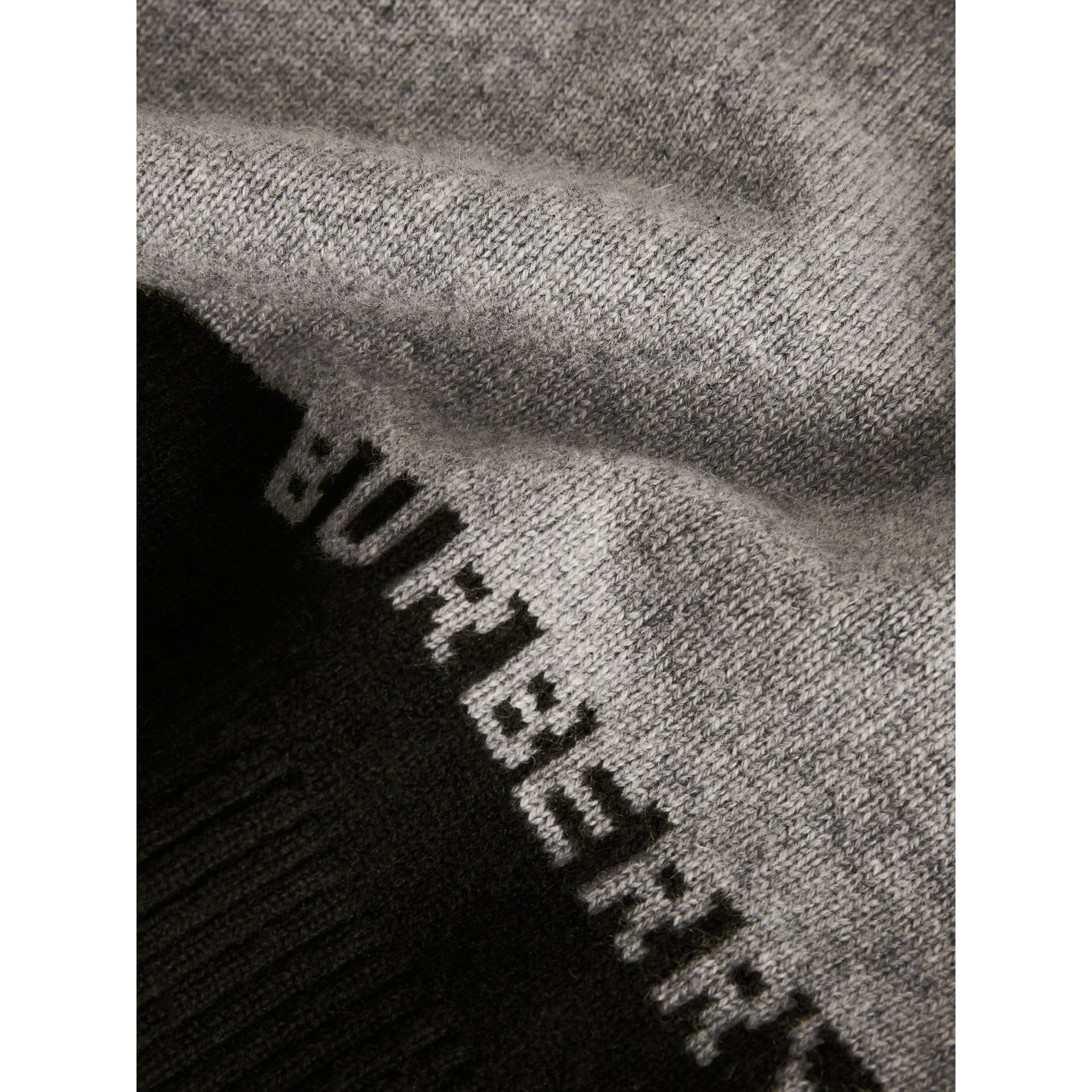 Logo Intarsia Cashmere Sweater in Grey Melange | Burberry - gallery image 1