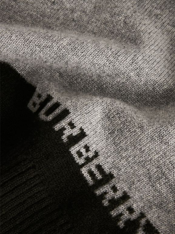 Logo Intarsia Cashmere Sweater in Grey Melange | Burberry - cell image 1