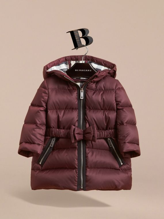 蝴蝶結細節設計羽絨大衣 (暗梅紅) | Burberry - cell image 2