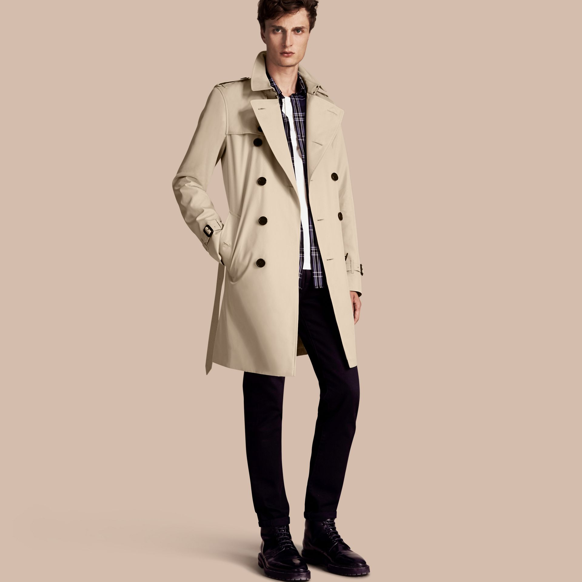 Stone The Kensington – Long Heritage Trench Coat Stone - gallery image 1