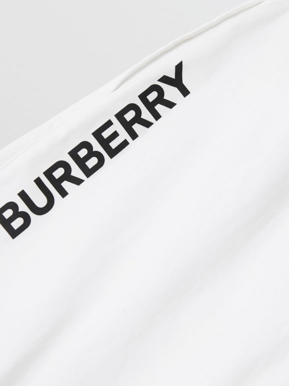 Logo Print Cotton Tailored Shorts in Optic White | Burberry - cell image 1