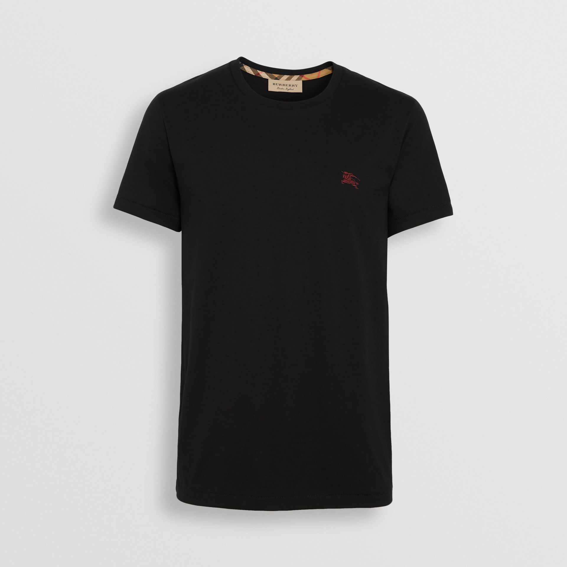 Cotton Jersey T-shirt in Black - Men | Burberry - gallery image 3