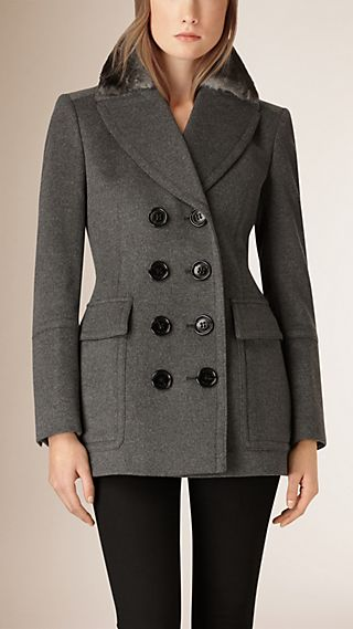 Fur Collar Wool Cashmere Pea Coat