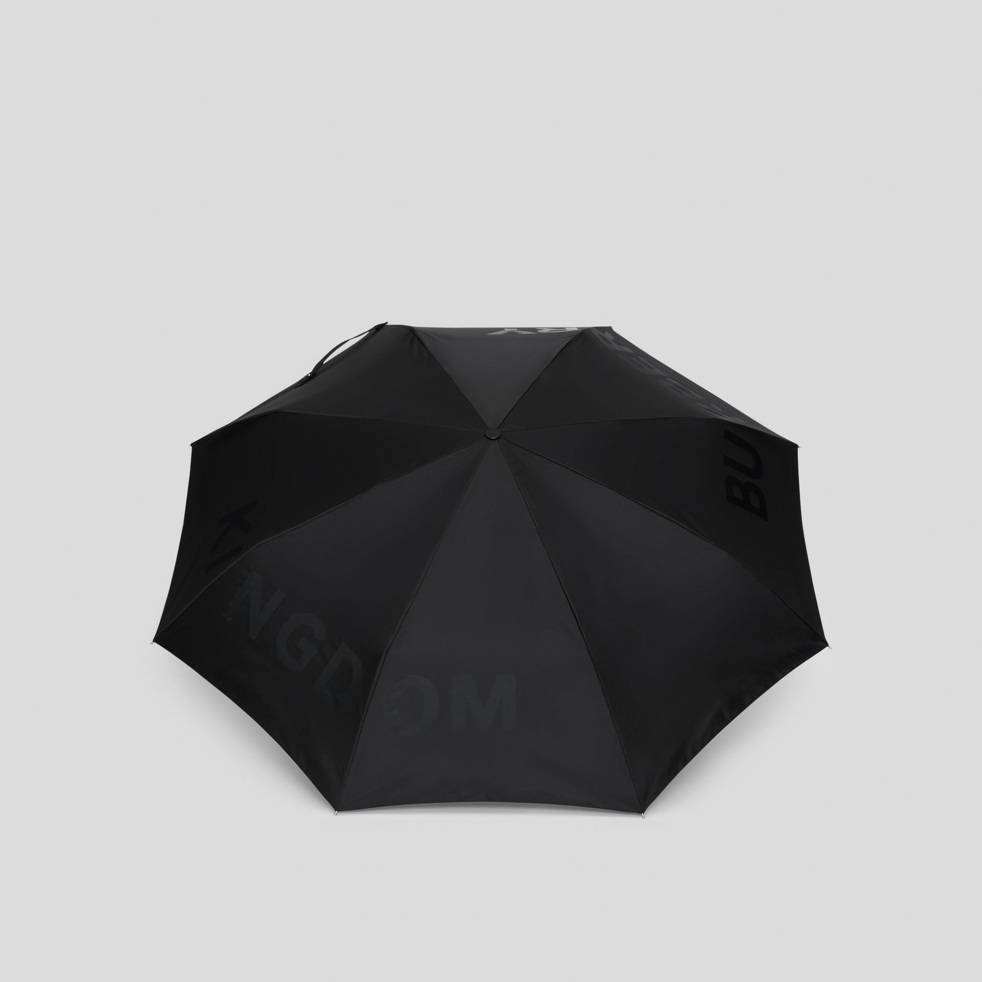 Kingdom Print Folding Umbrella in Black | Burberry Canada - gallery image 4