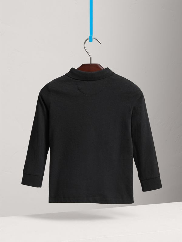 Long-sleeve Cotton Jersey Polo Shirt in Black - Boy | Burberry United Kingdom - cell image 3