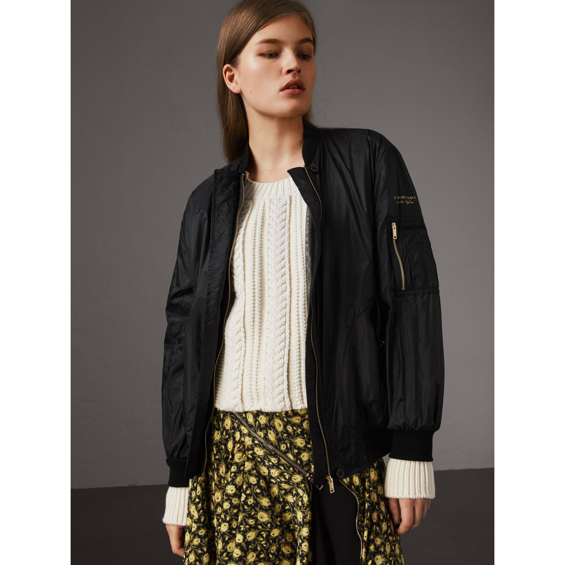 Lightweight Bomber Jacket in Black - Women | Burberry Hong Kong - gallery image 5