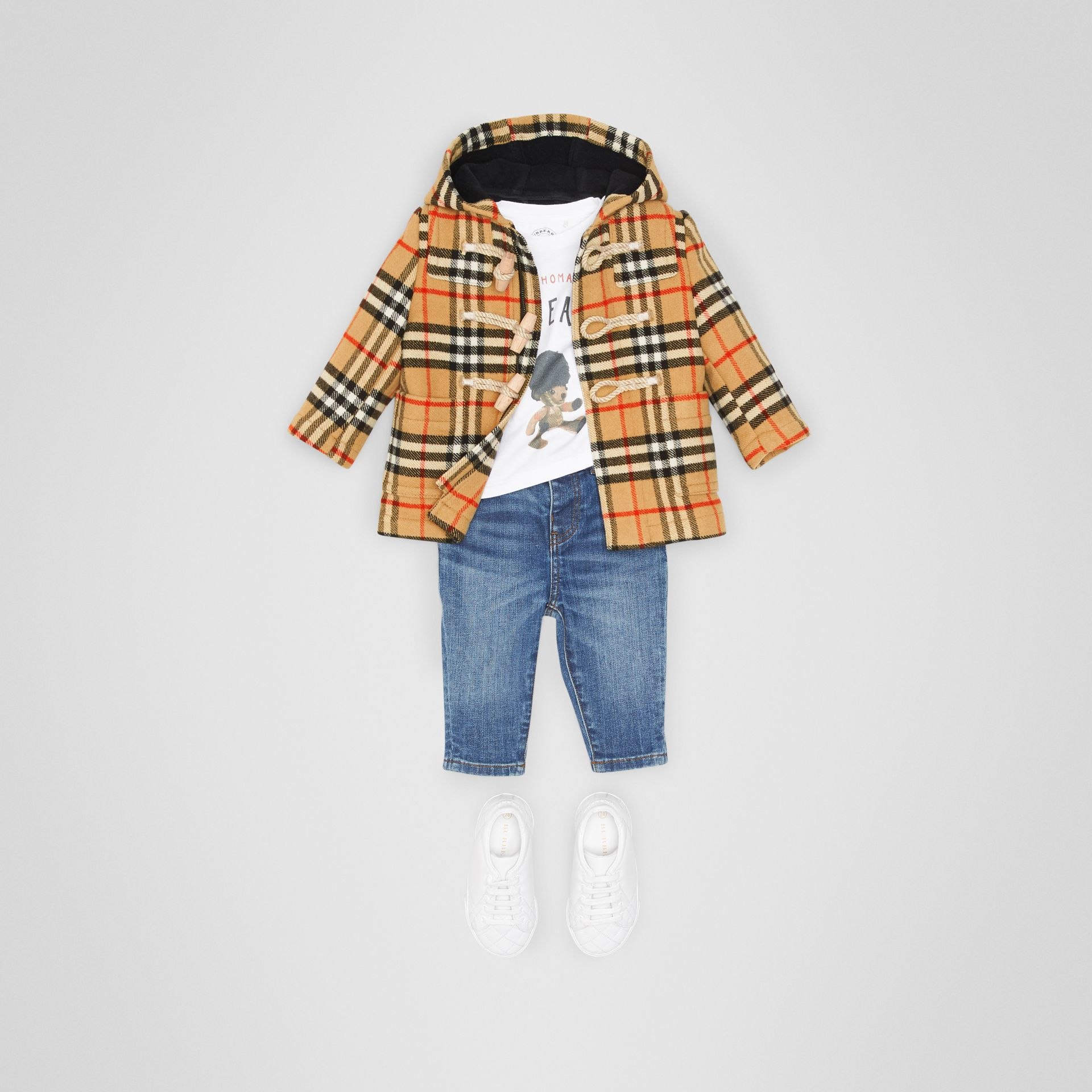 Vintage Check Wool Duffle Coat in Black - Children | Burberry United States - gallery image 2