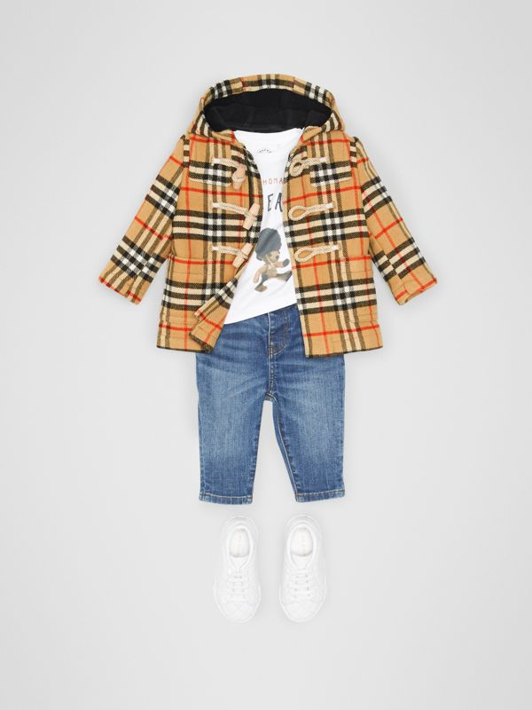 Vintage Check Wool Duffle Coat in Black - Children | Burberry - cell image 2