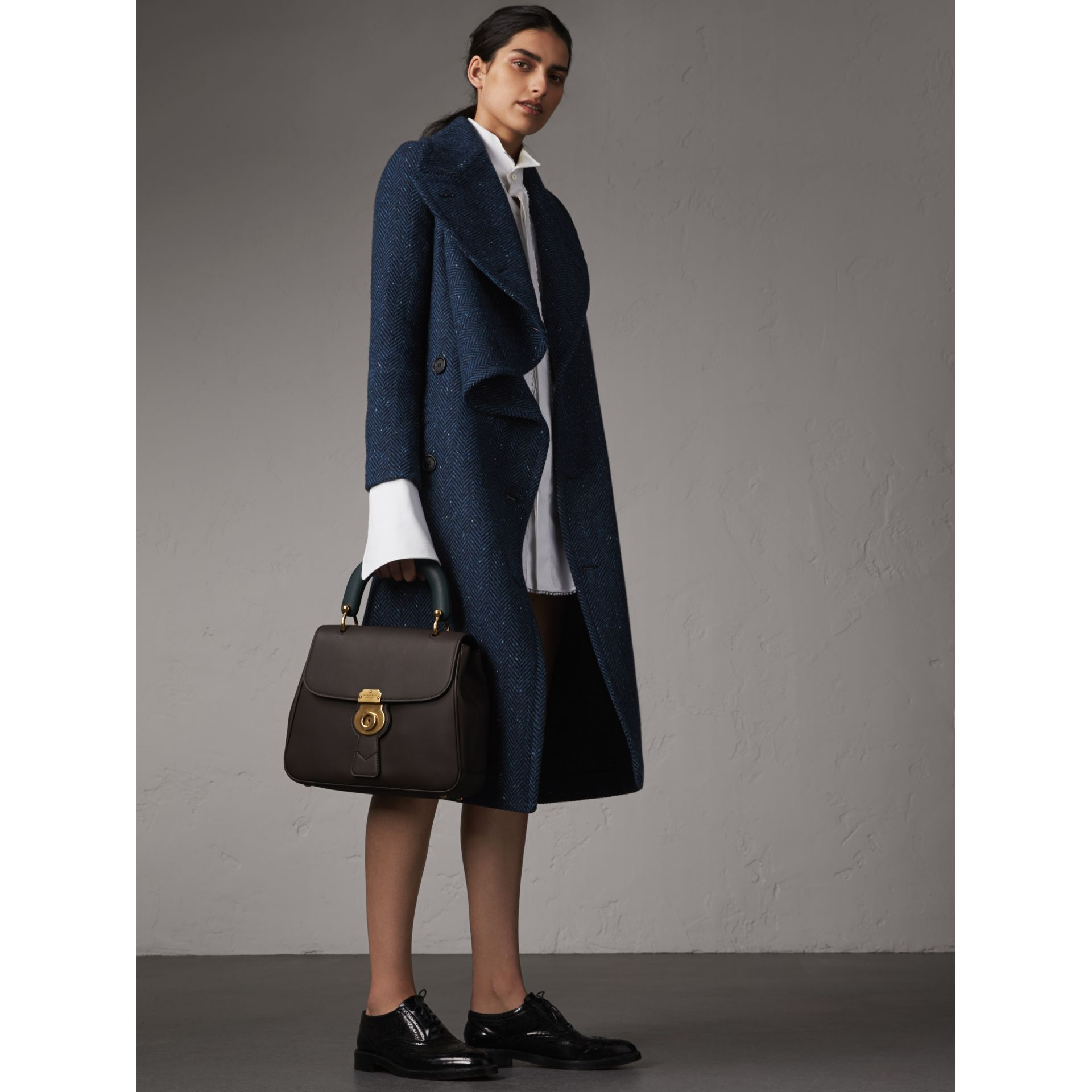 Herringbone Wool Cashmere Tweed Asymmetric Coat in Navy - Women | Burberry - gallery image 1