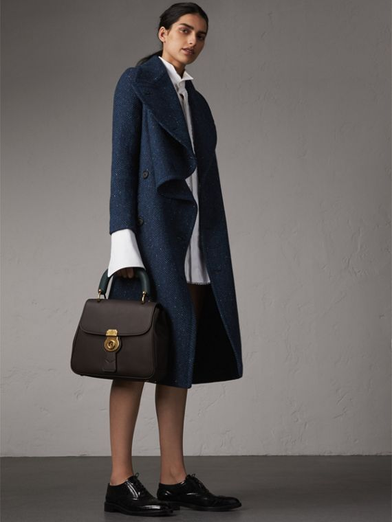 Herringbone Wool Cashmere Tweed Asymmetric Coat in Navy