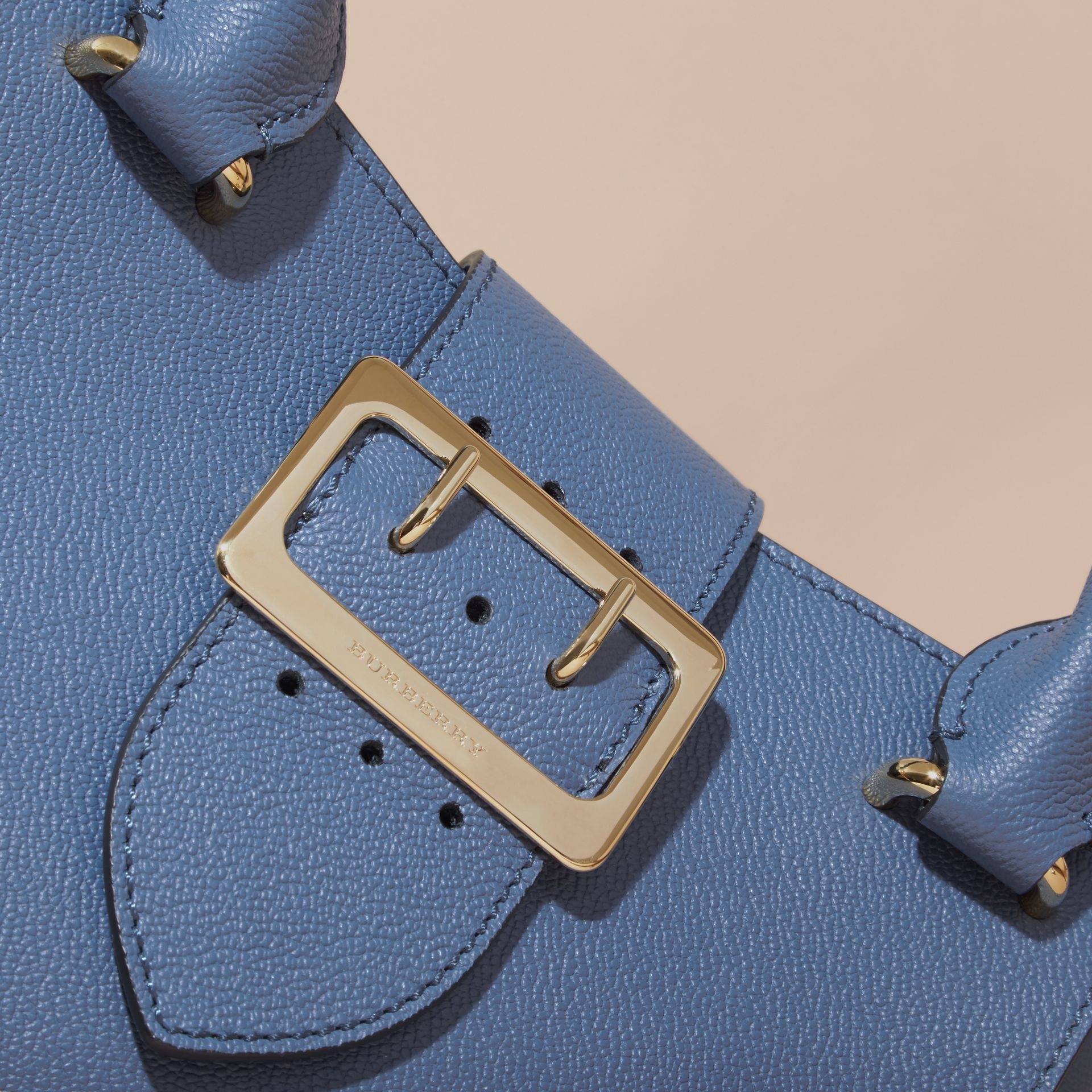 The Small Buckle Tote in Grainy Leather in Steel Blue - gallery image 2