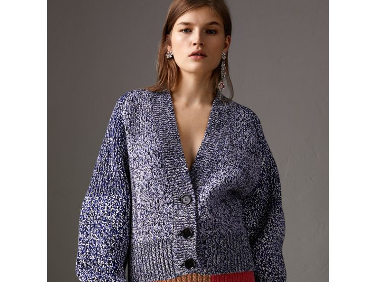 Cashmere Cotton Blend Mouliné Cardigan  in Bright Navy/black - Women | Burberry United States - cell image 4