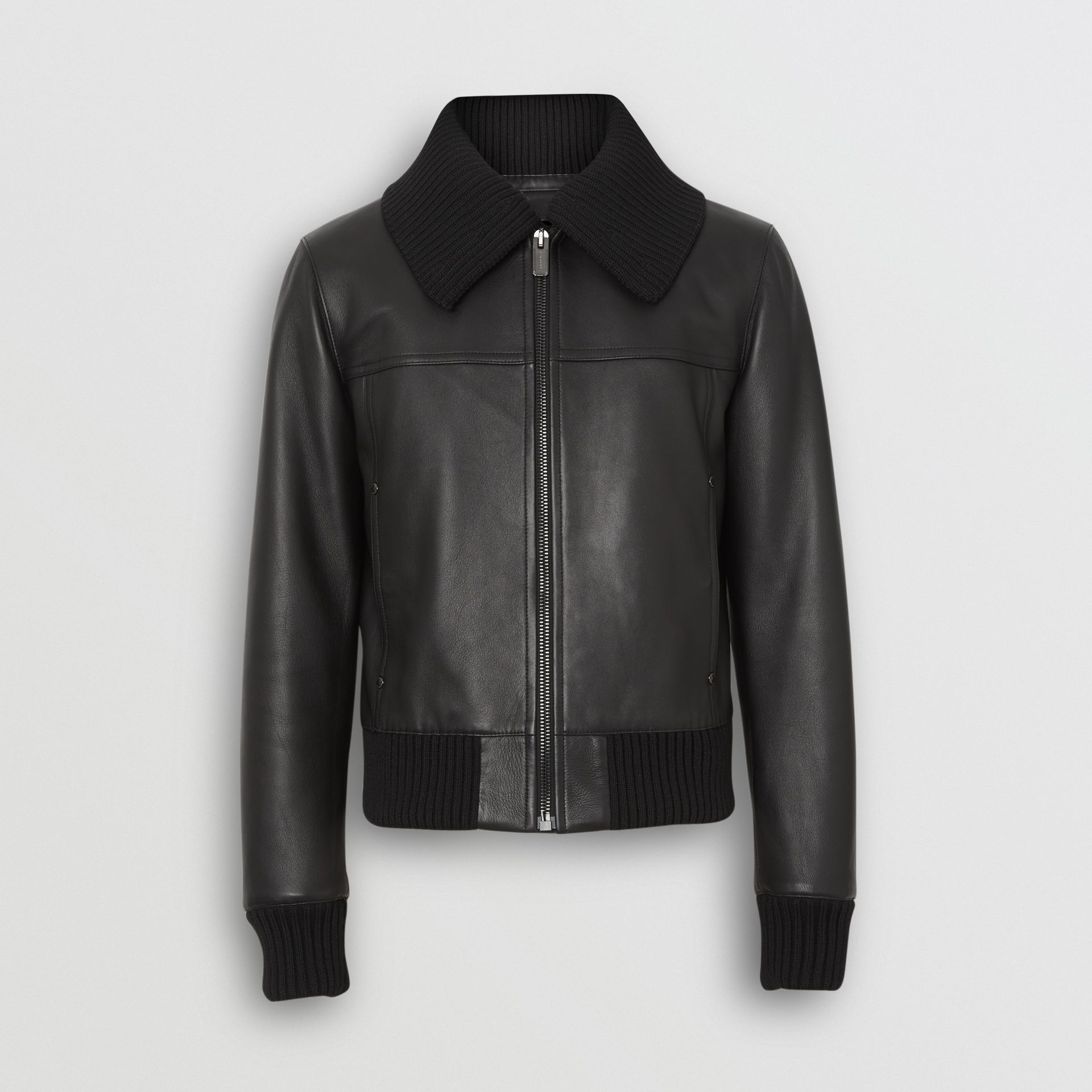 Detachable Collar Lambskin Bomber Jacket in Black - Men | Burberry United Kingdom - gallery image 3