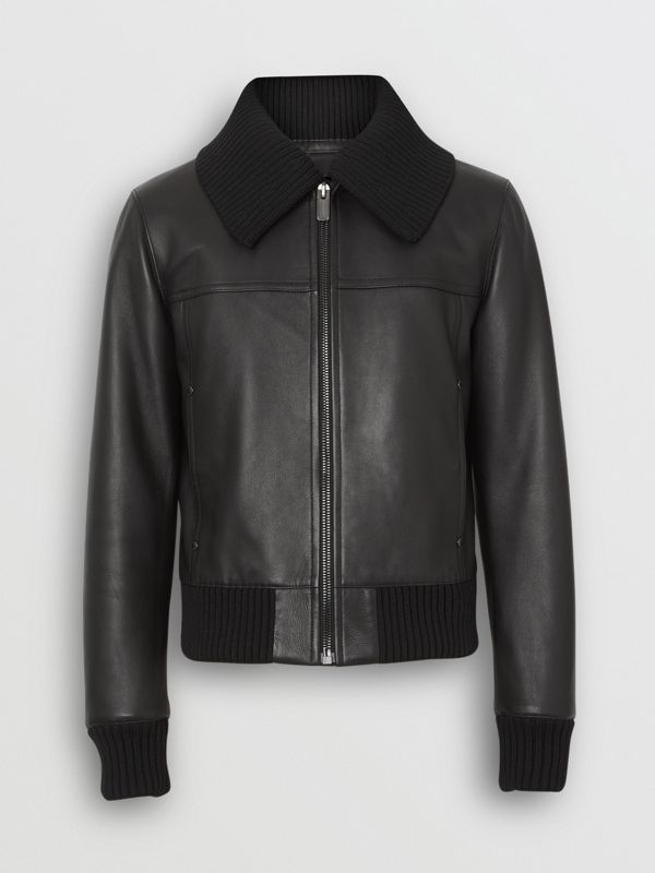 Detachable Collar Lambskin Bomber Jacket in Black - Men | Burberry Singapore - cell image 3