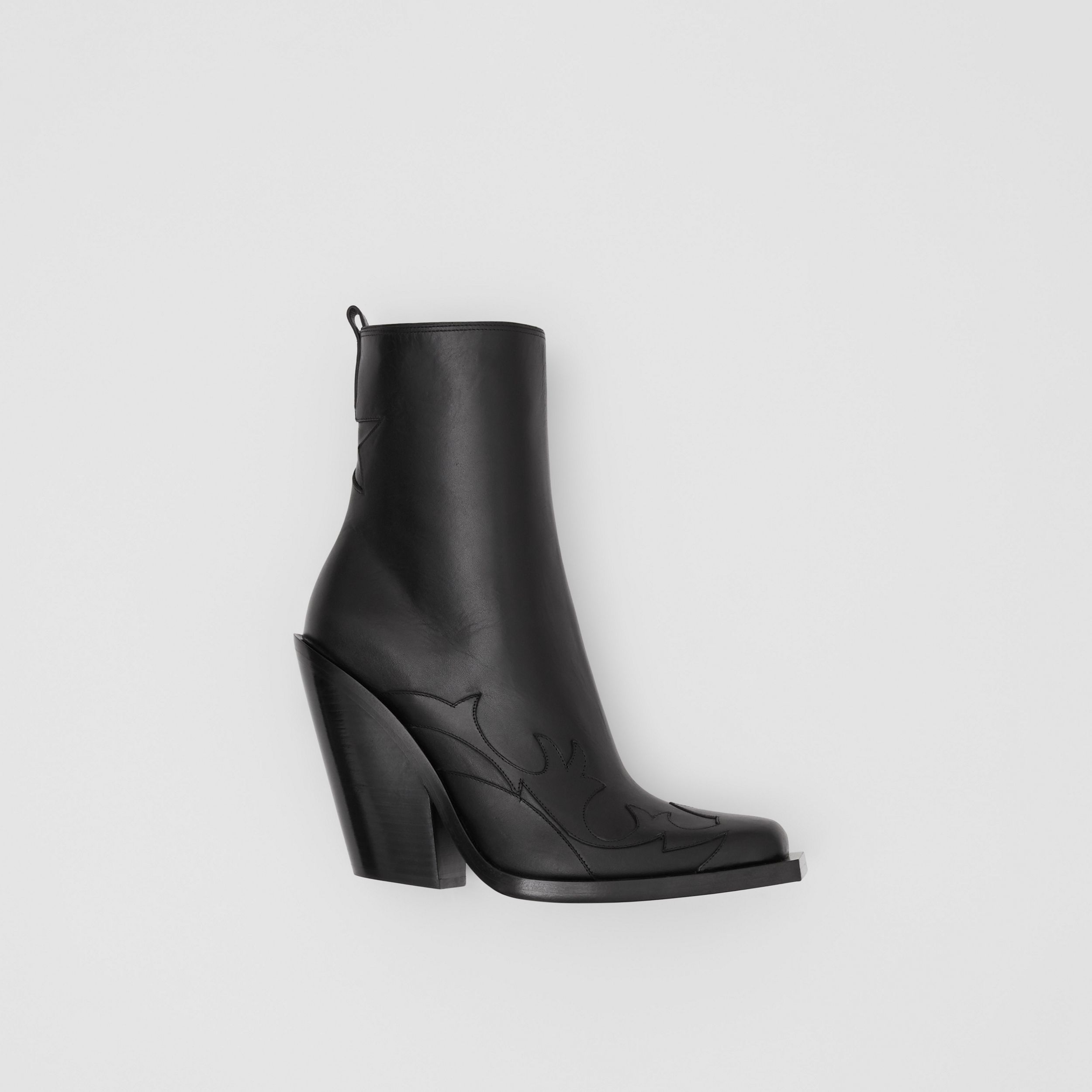 Star Detail Leather Block-heel Ankle Boots in Black - Women | Burberry - 1