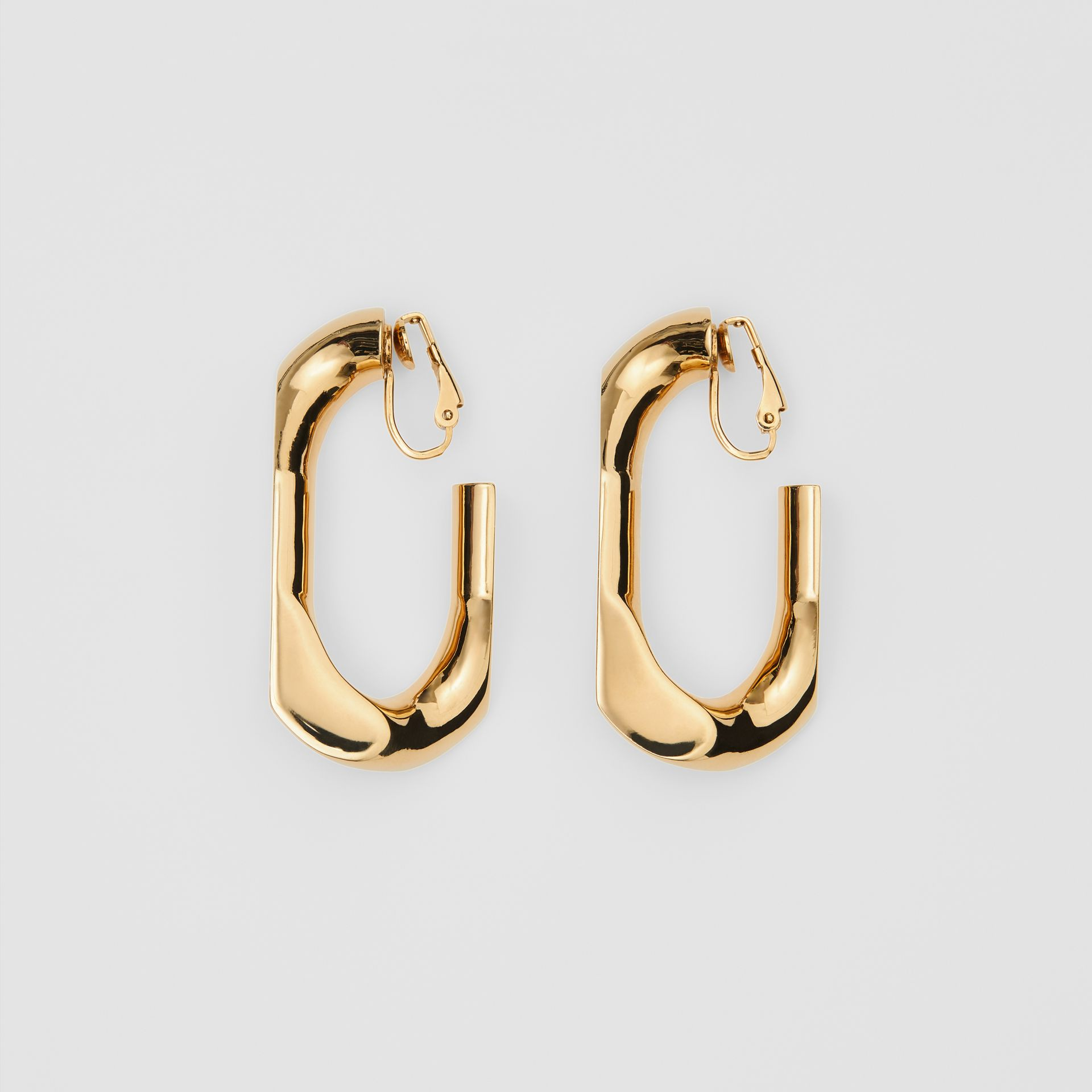 Large Gold-plated Chain Link Earrings in Light - Women | Burberry United States - gallery image 0