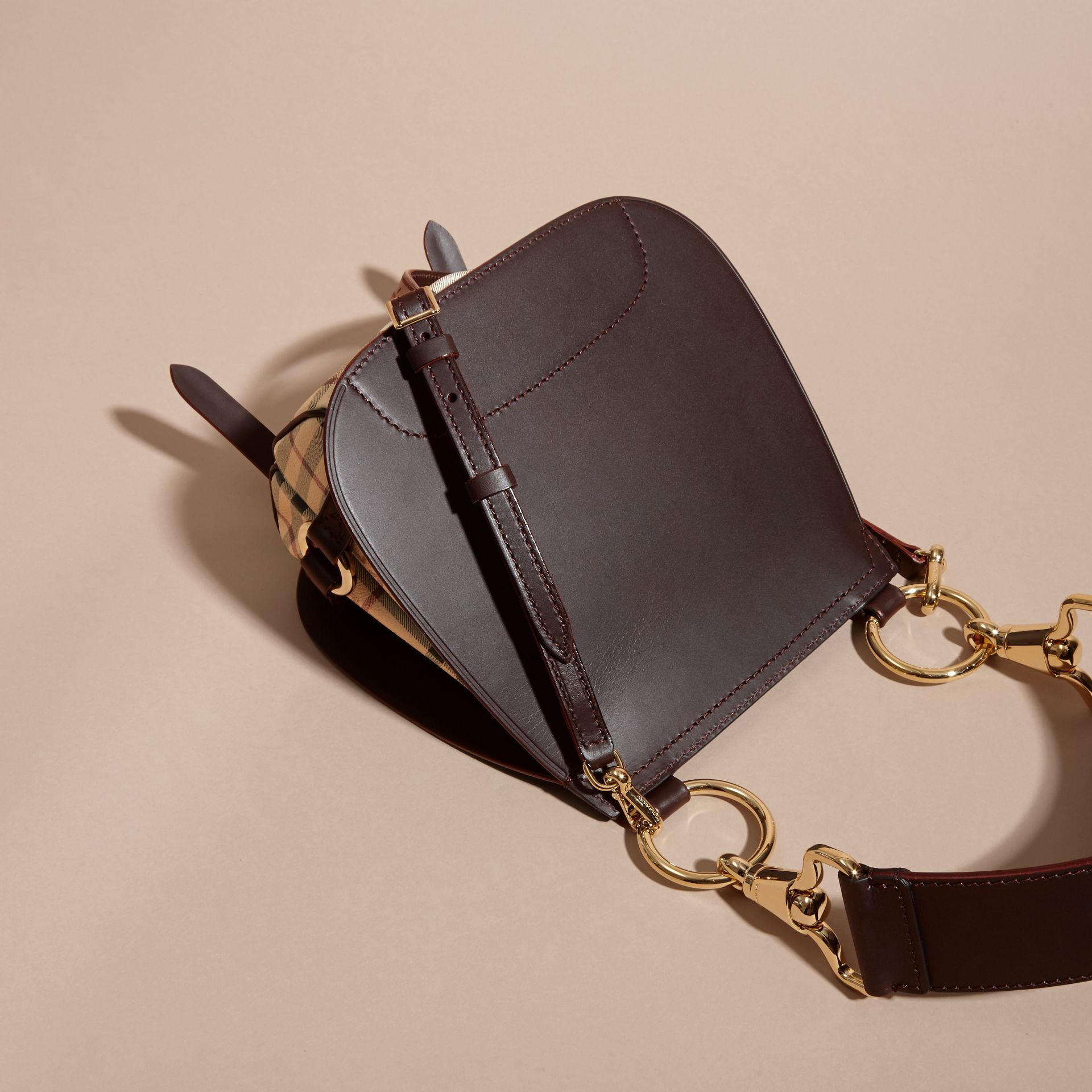 The Bridle Bag in Leather and Haymarket Check Dark Clove Brown - gallery image 6