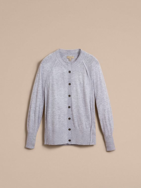 Open-knit Detail Cashmere Cardigan in Light Grey Melange - Women | Burberry - cell image 3