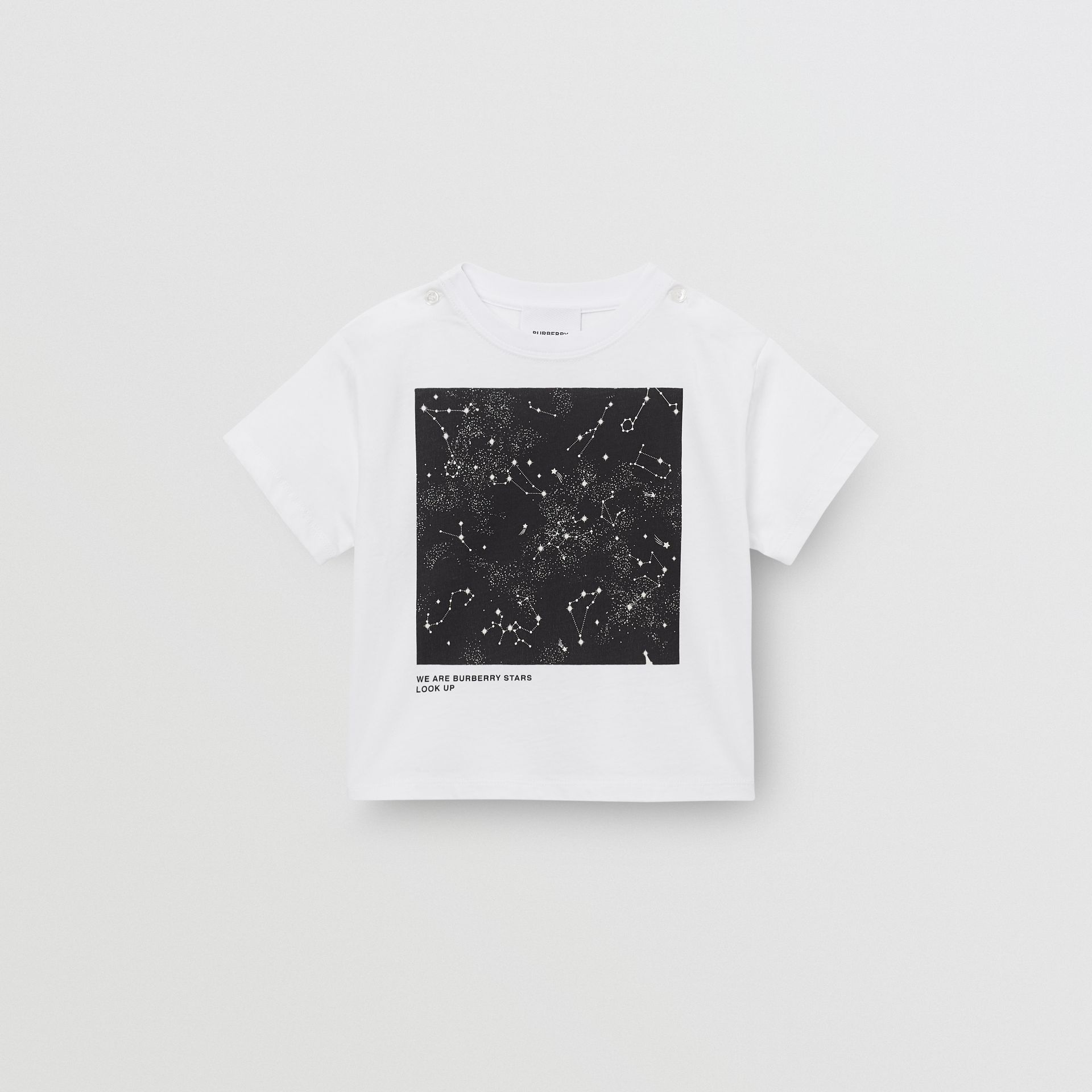 Star Print Cotton T-shirt in White - Children | Burberry United States - gallery image 0