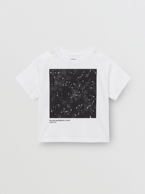 Star Print Cotton T-shirt in White