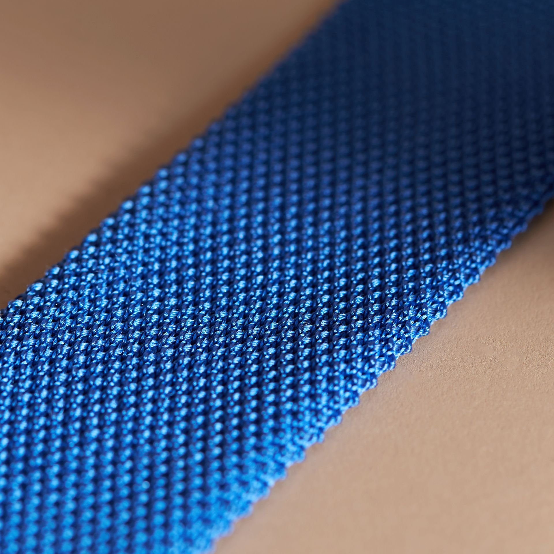 Slim Cut Knitted Silk Tie in Light Blue - Men | Burberry - gallery image 2