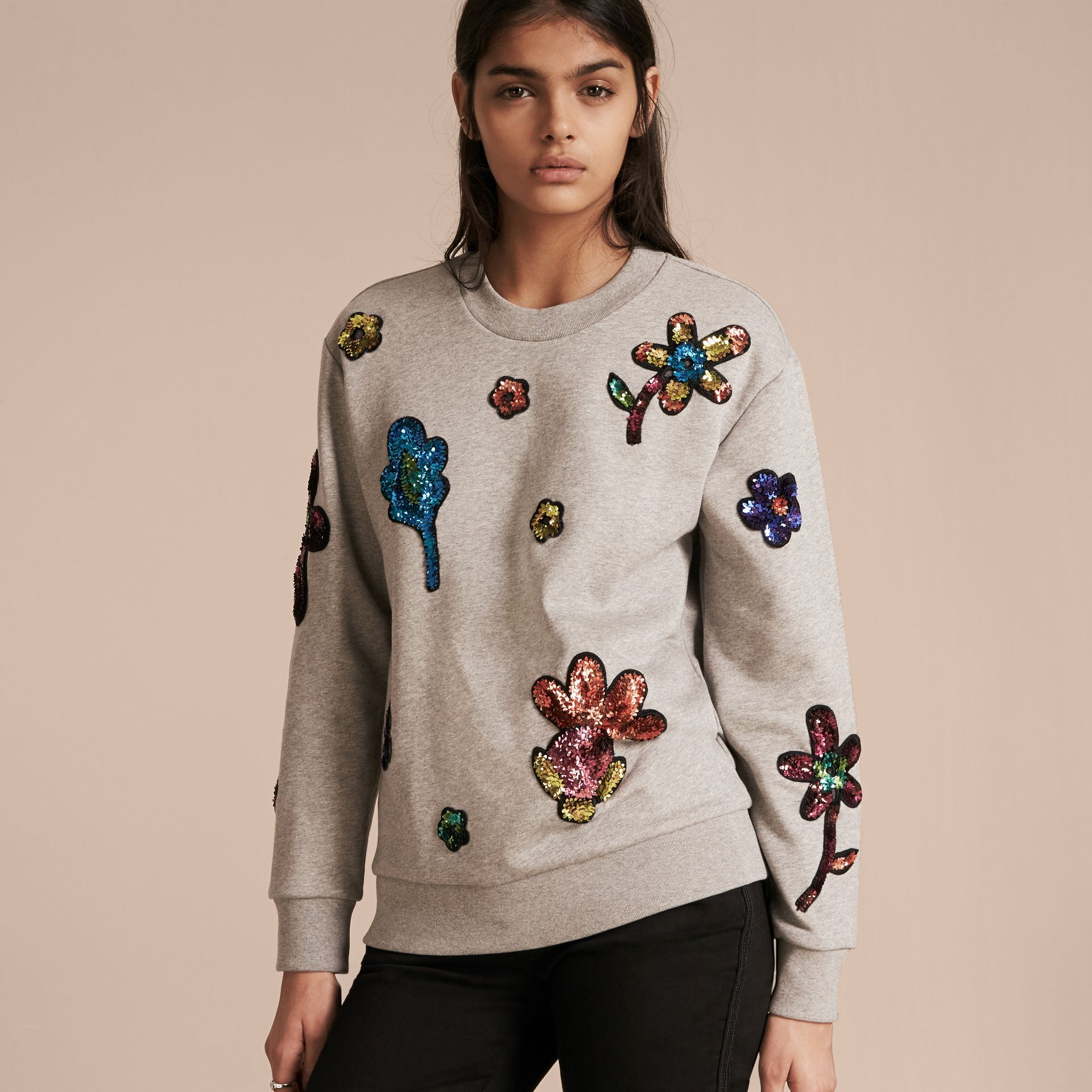 Pale grey melange Sequin Floral Appliqué Cotton Sweatshirt Pale Grey Melange - gallery image 6