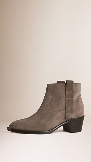 Bottines à franges en cuir velours