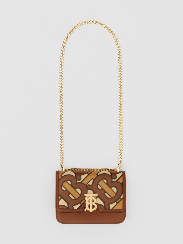 Small Monogram Appliqué Leather TB Bag in Brown - Women | Burberry - cell image 3