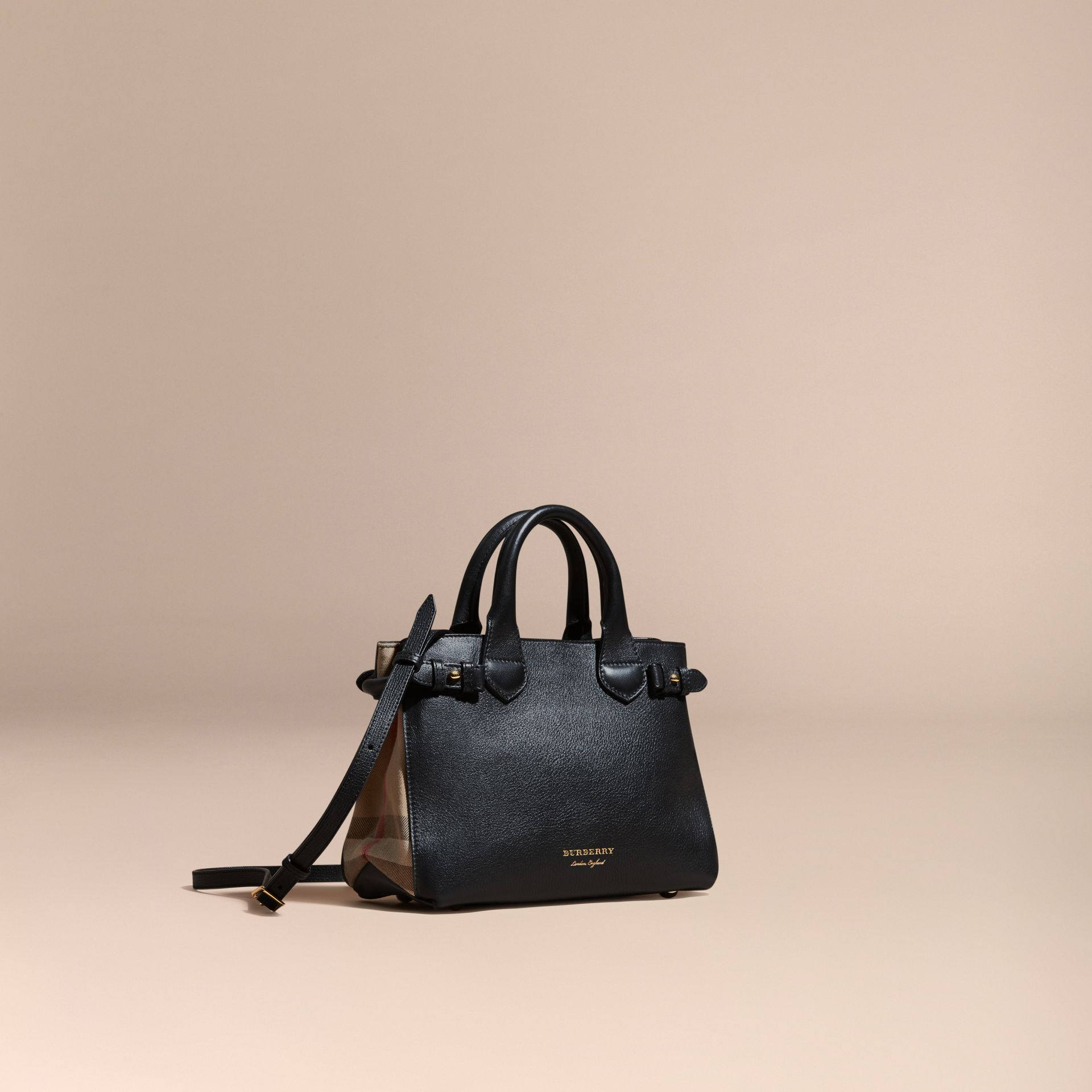 Petit sac The Banner en cuir et coton House check Noir - photo de la galerie 1
