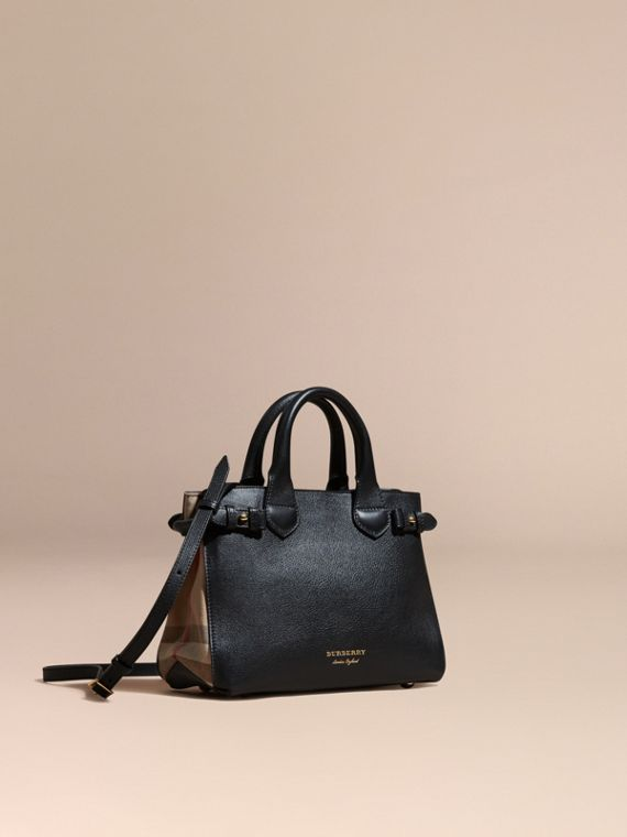 The Small Banner in Leather and House Check in Black - Women | Burberry