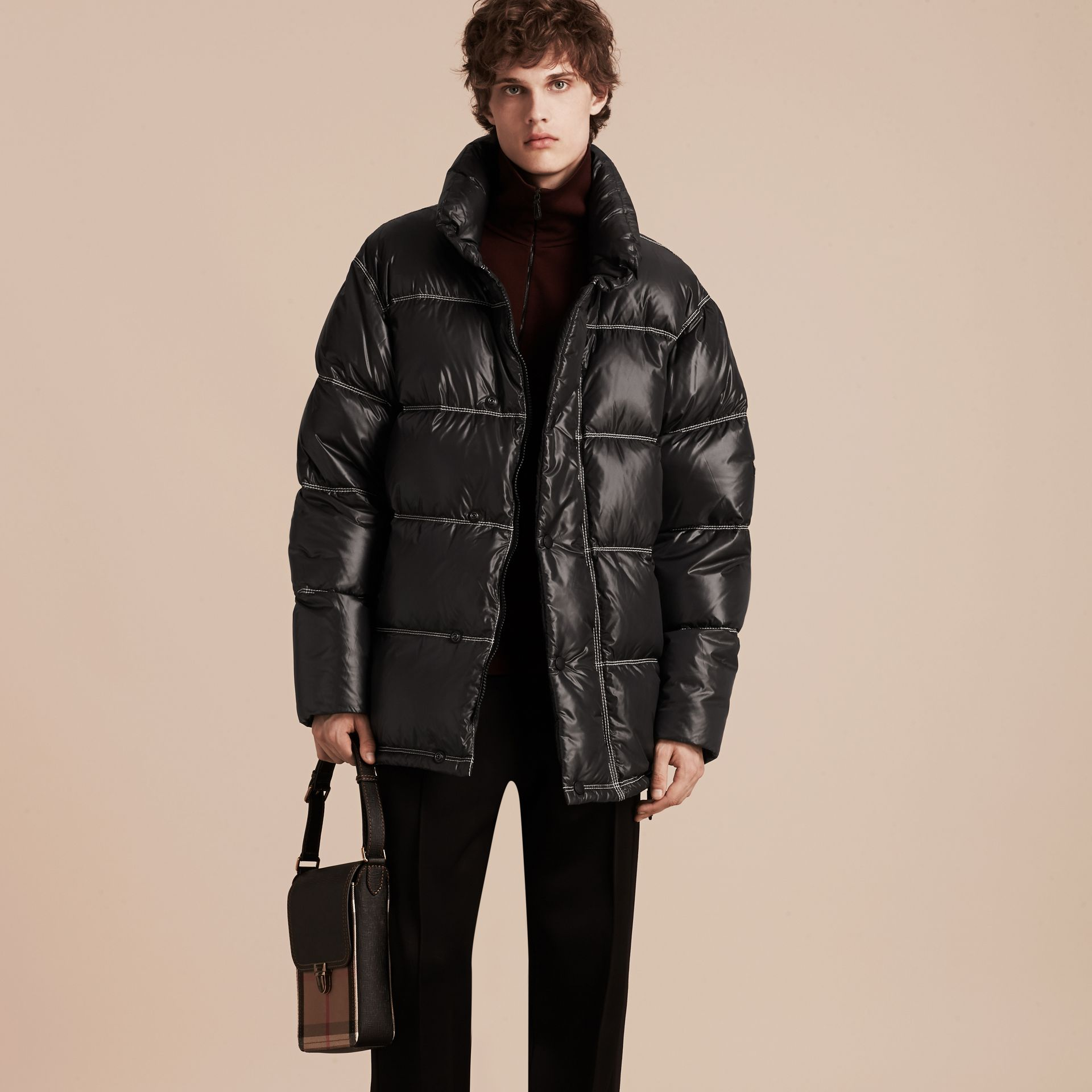 Black Down-filled Puffer Coat - gallery image 7