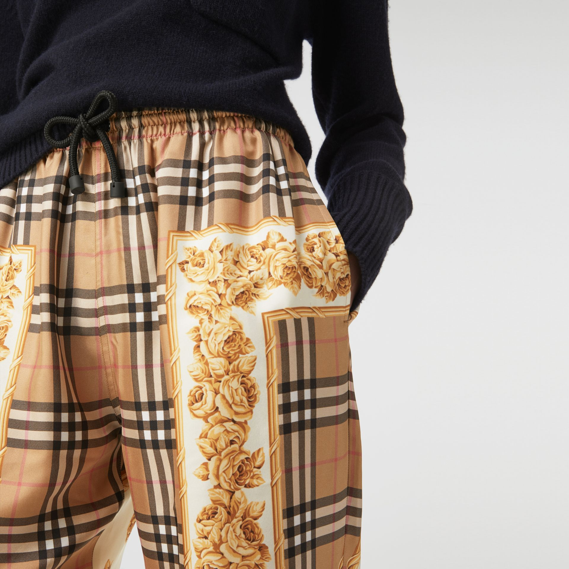 Scarf Border Vintage Check Silk Drawcord Trousers in Multicolour - Women | Burberry Hong Kong - gallery image 5