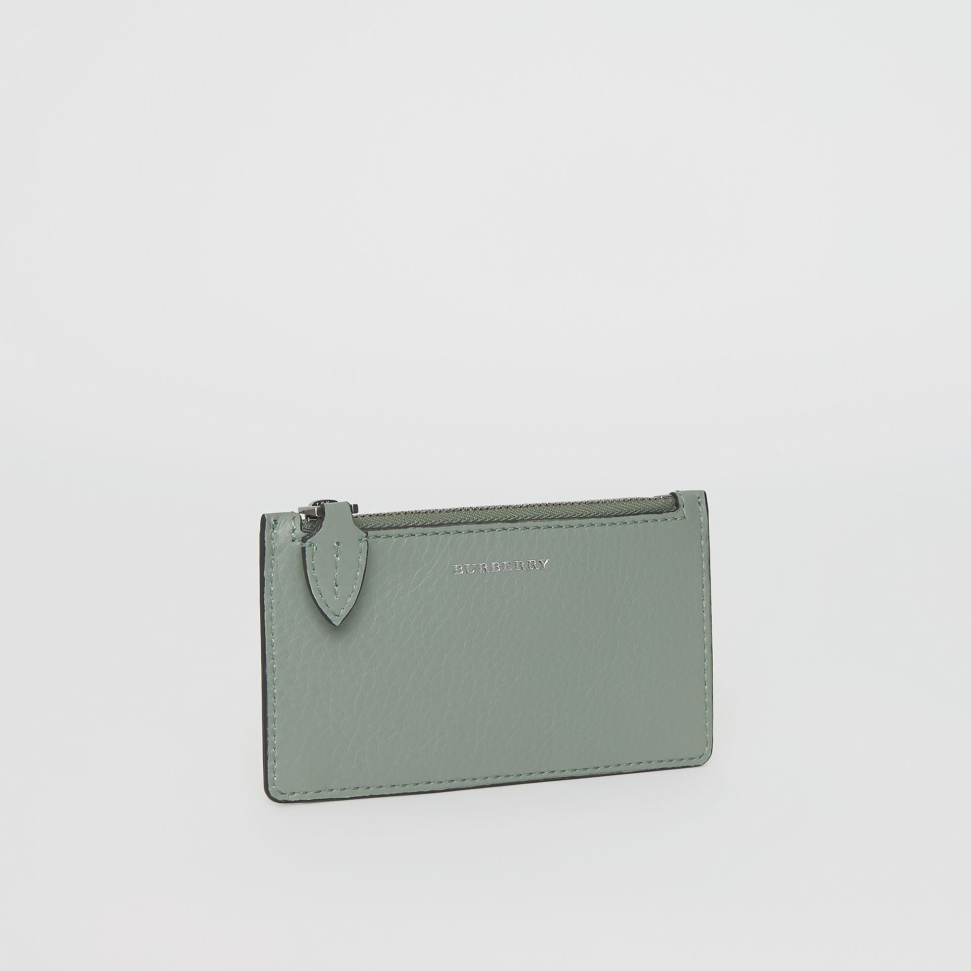 Two-tone Leather Card Case in Grey Blue - Women | Burberry Singapore - gallery image 3
