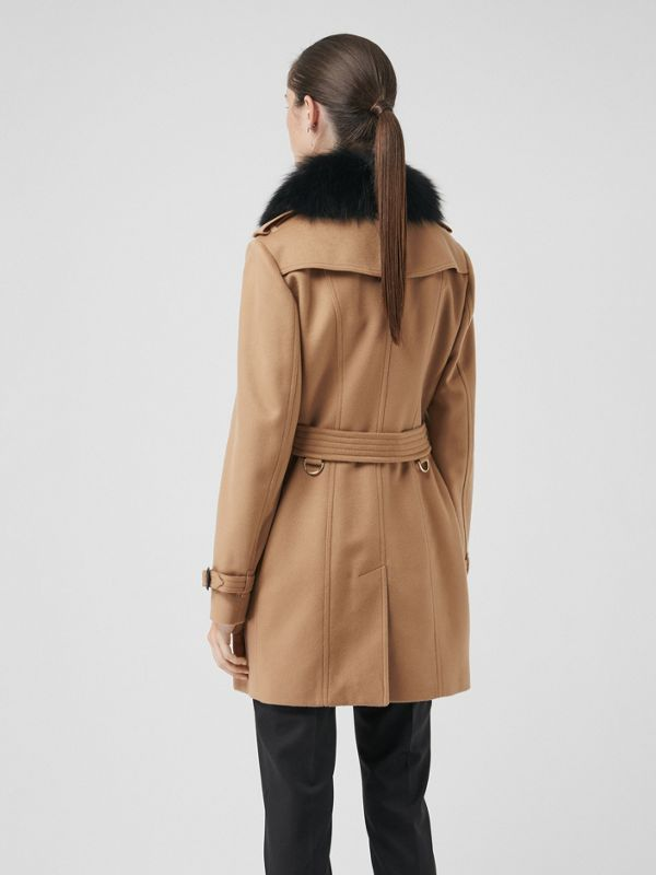 Wool Cashmere Trench Coat with Fur Collar in Camel - Women | Burberry United States - cell image 2