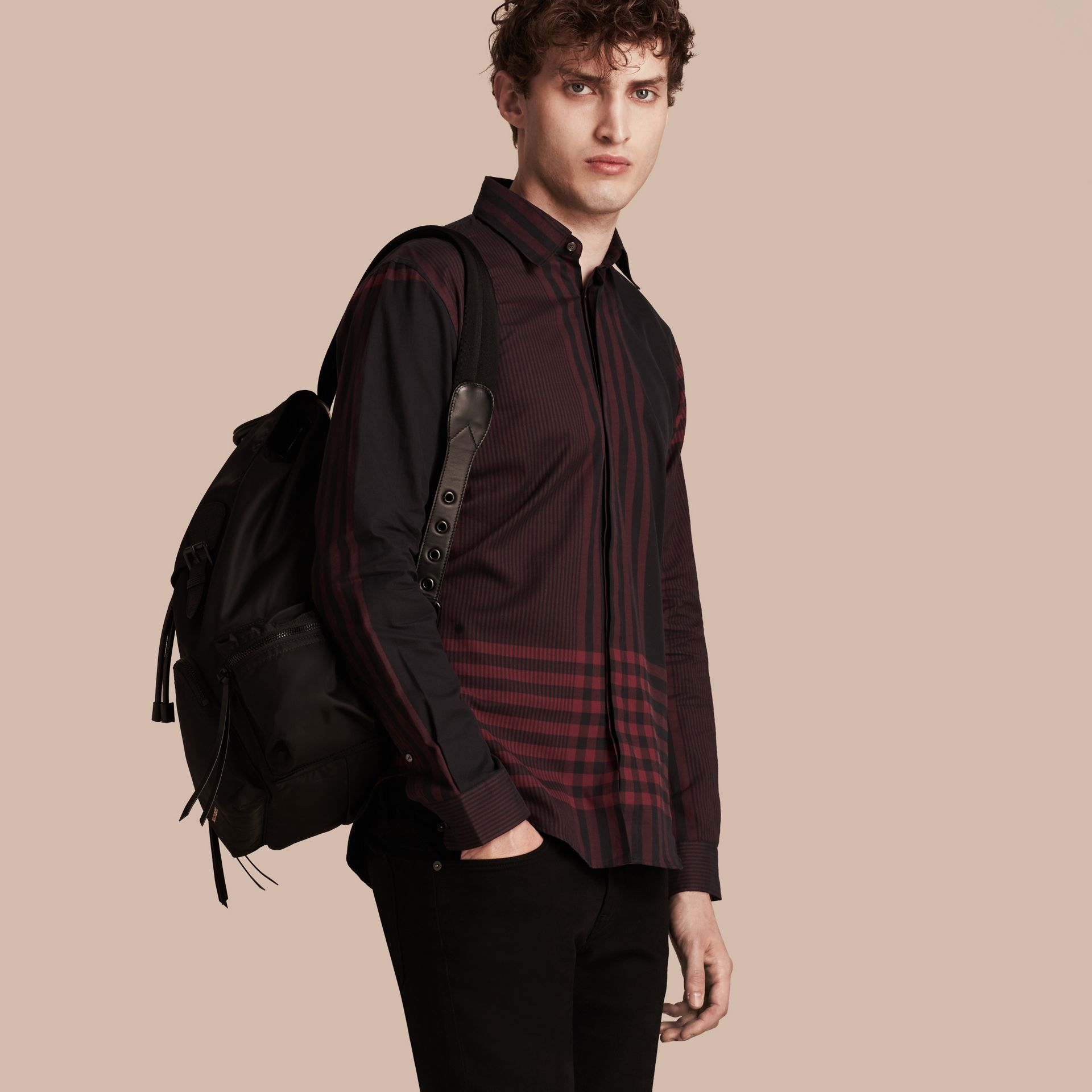 Burgundy red Graphic Check Cotton Shirt Burgundy Red - gallery image 6
