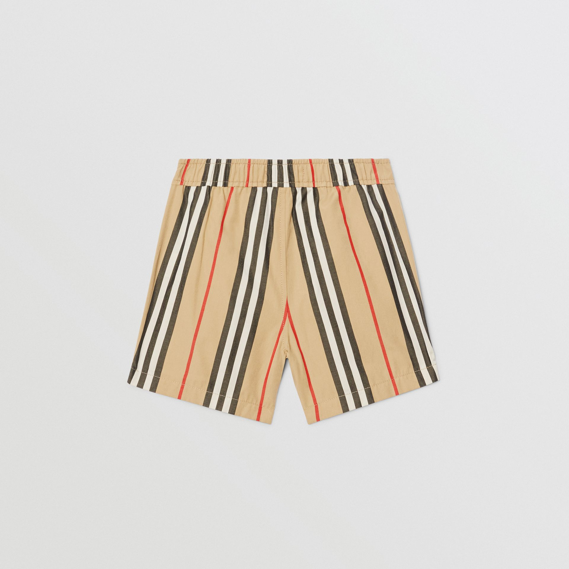 Icon Stripe Cotton Poplin Shorts in Archive Beige - Children | Burberry - gallery image 3