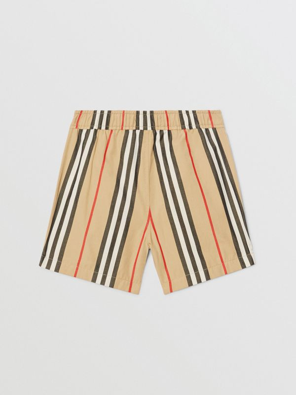 Icon Stripe Cotton Poplin Shorts in Archive Beige - Children | Burberry - cell image 3
