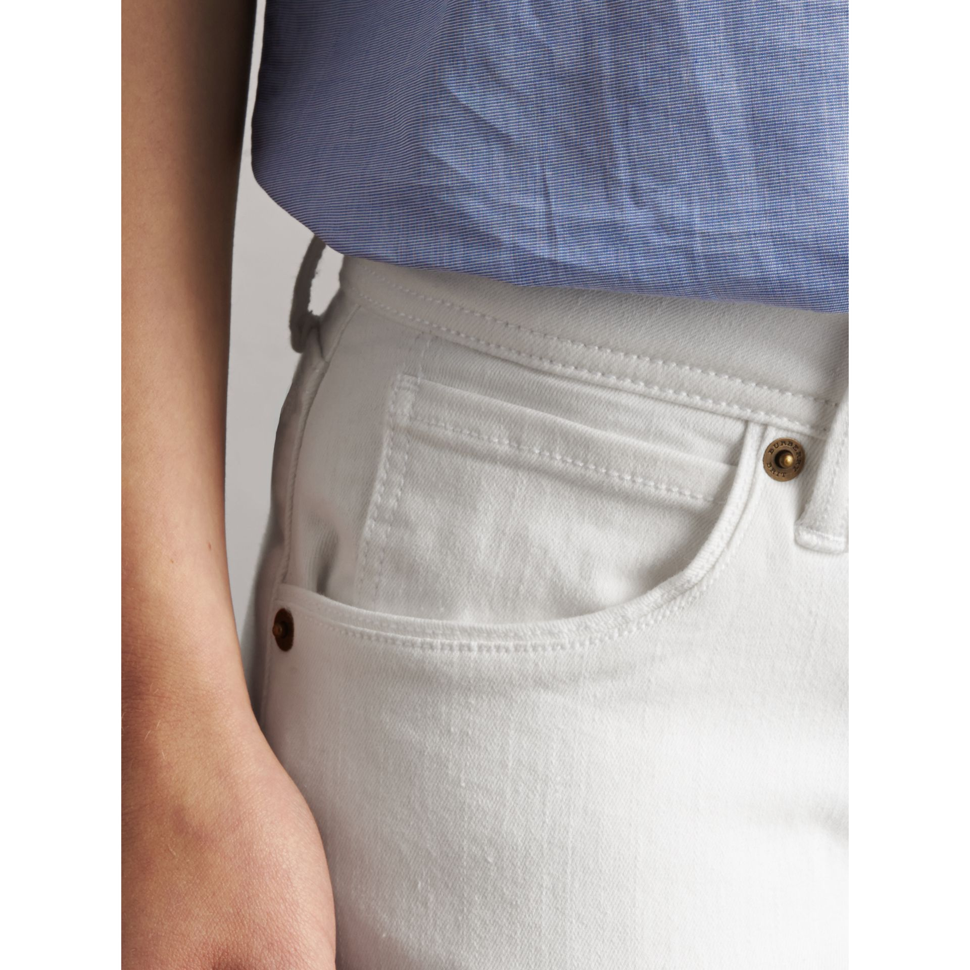 Skinny Fit Low-Rise White Jeans - Women | Burberry - gallery image 2