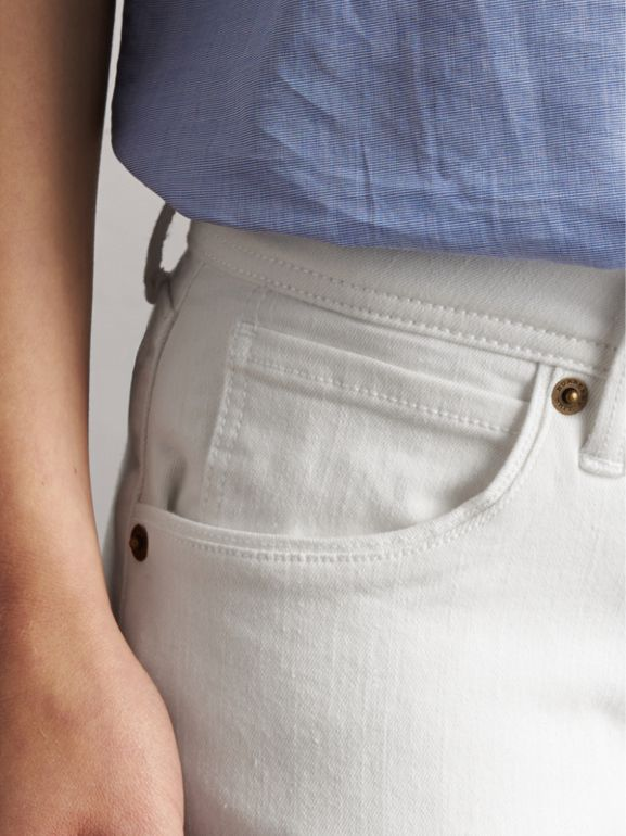 Skinny Fit Low-Rise White Jeans - Women | Burberry United Kingdom - cell image 1