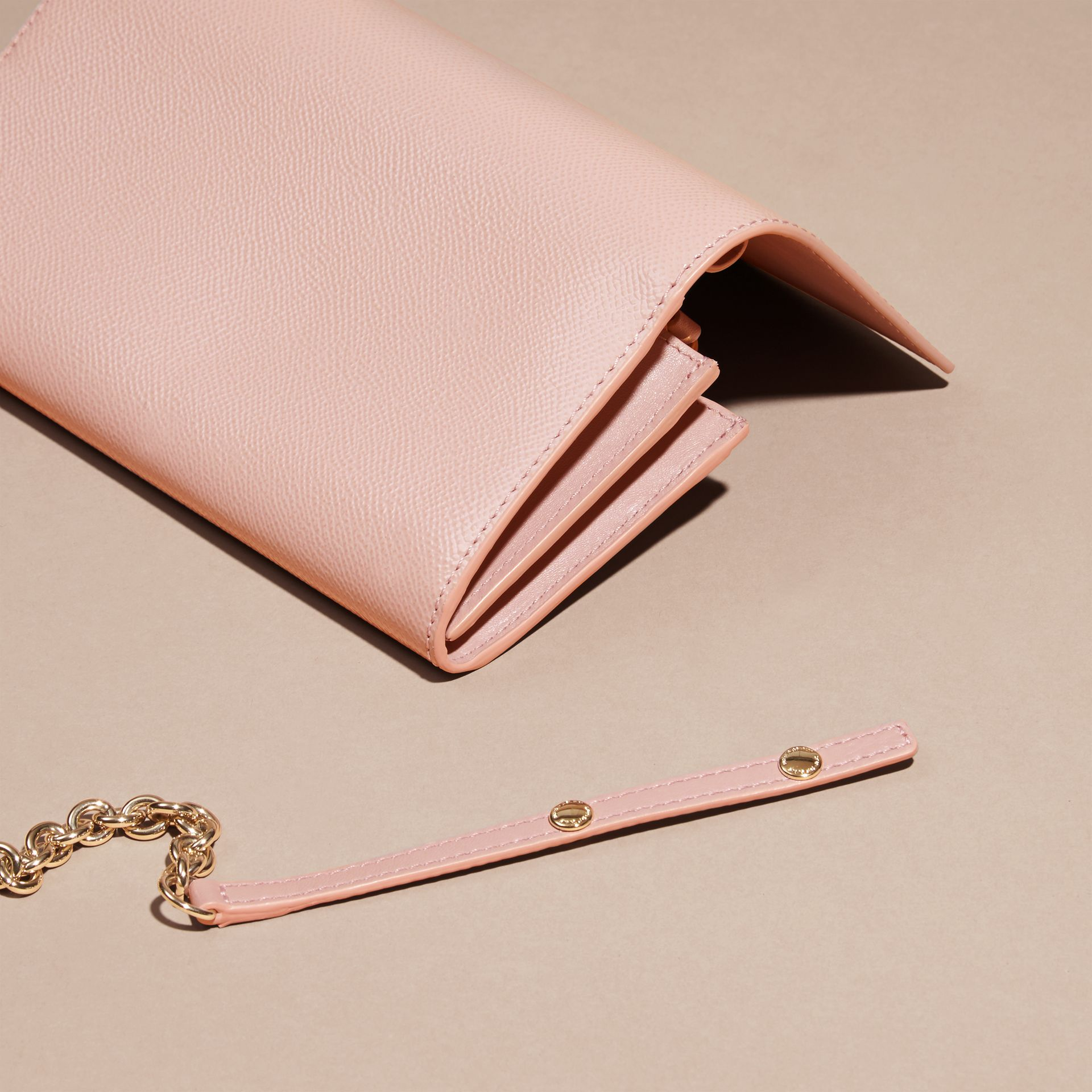 Leather Wallet with Chain in Ash Rose - gallery image 4