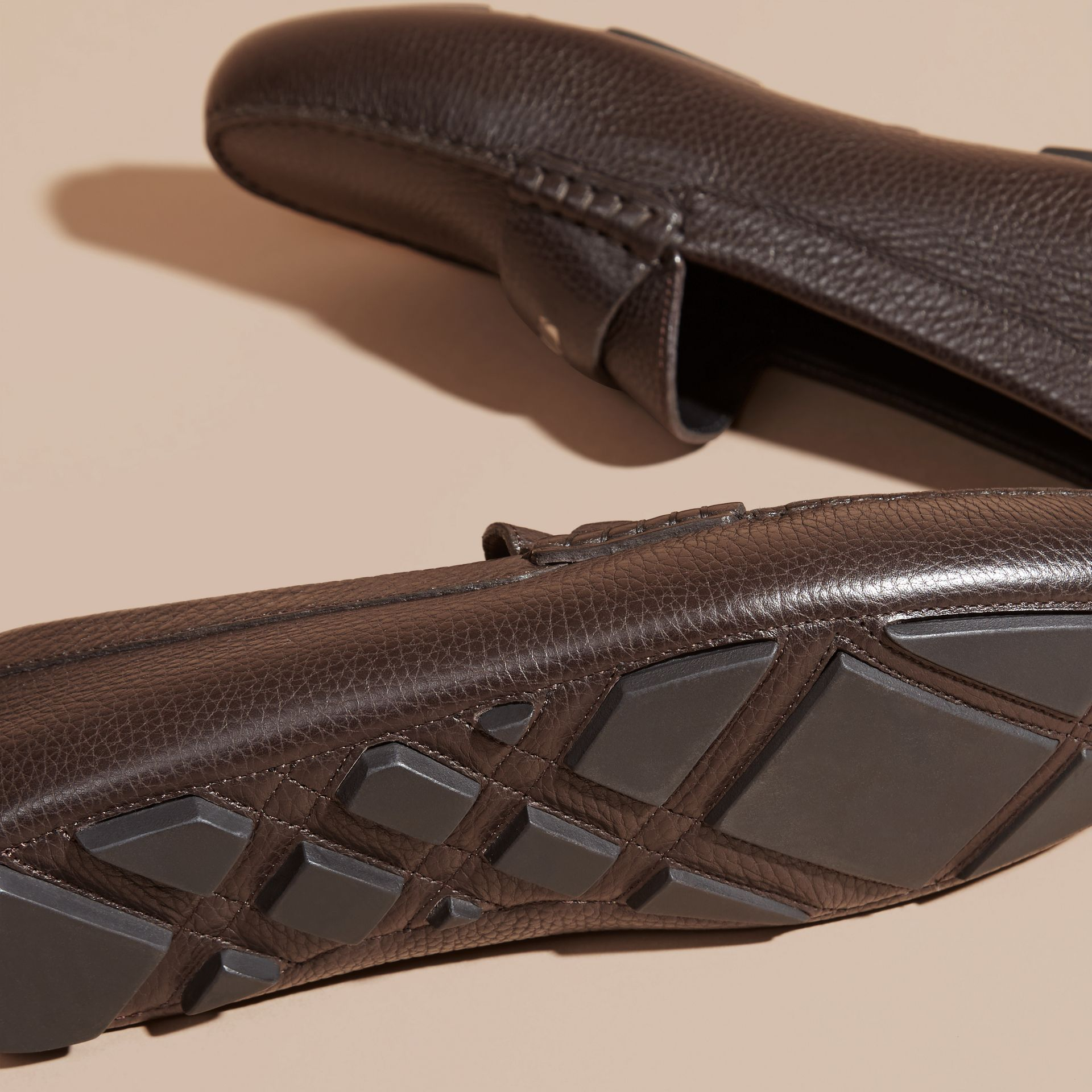 Dark chocolate Grainy Leather Loafers with Engraved Check Detail Dark Chocolate - gallery image 5