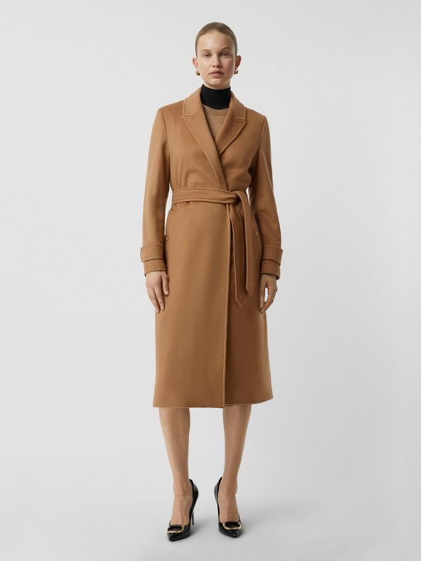 Peak Lapel Cashmere Wrap Coat in Dark Sand
