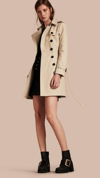 Trench-coat en double sergé de coton