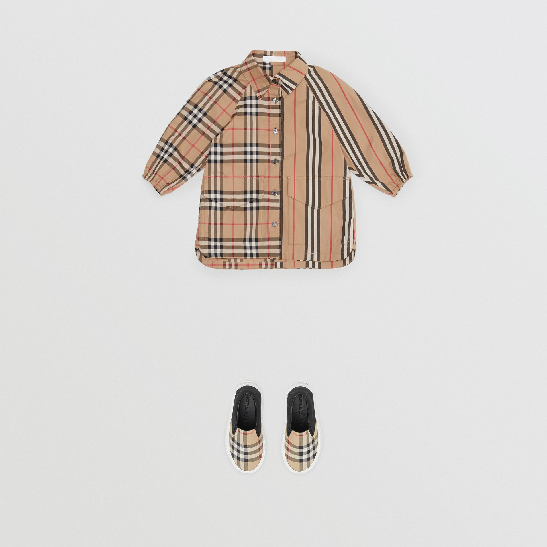 Vintage Check and Icon Stripe Cotton Shirt Dress in Archive Beige - Children | Burberry - gallery image 2