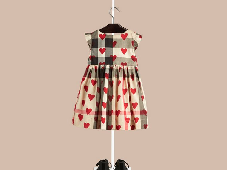 Parade red Hearts and Check Cotton Dress - cell image 1